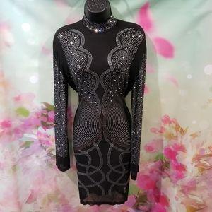 Dresses & Skirts - NEW Sheer Rhinestone Studded Dress